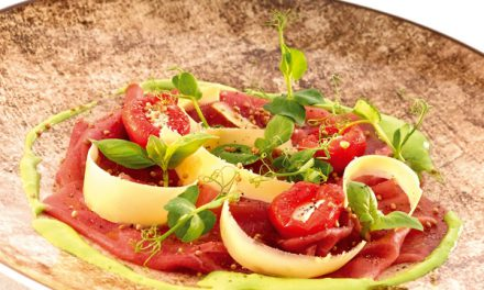Rundscarpaccio & pepers met roomkaas