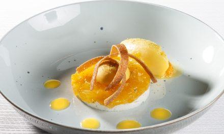 Meringue met hop, mandarijn, wilde peper, mandarijnsorbet