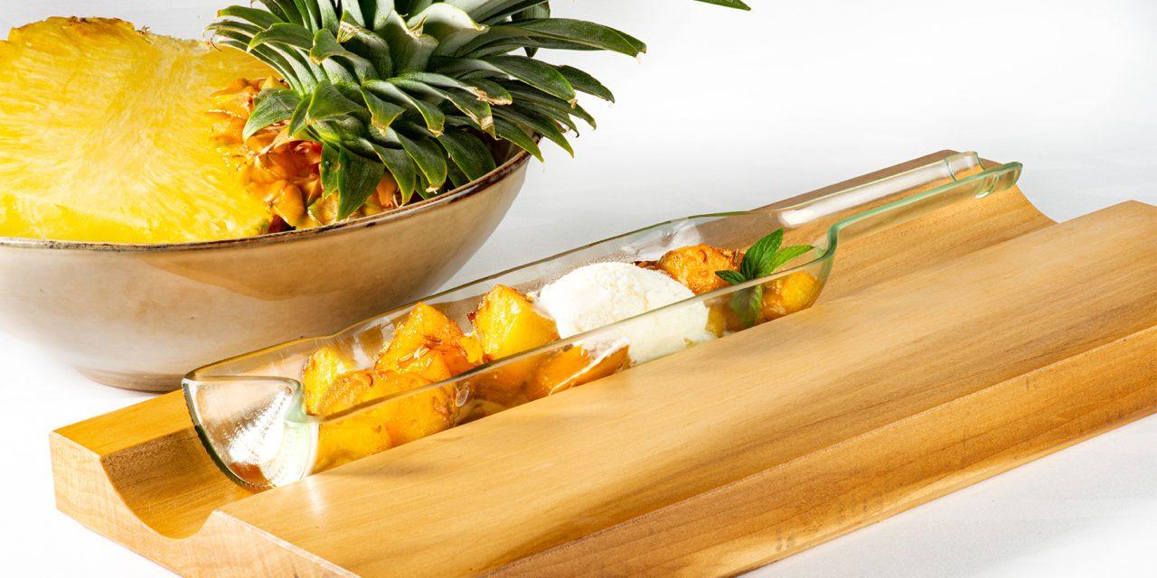 Gekonfijte ananas met venkel en Esprit de Bioul