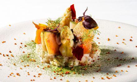 Salade van asperges en zeesla, Sturiakaviaar, Furikake