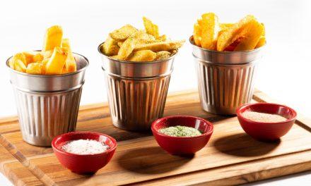 aviko frietjes met verschillende soorten zout of kruiden van het huis