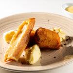 Kroket van Mechelse koekoek, aardappelpuree en Gruyère AOP